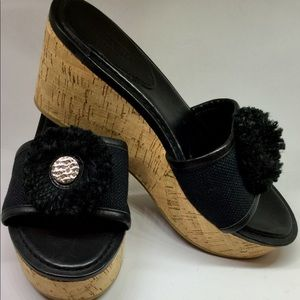 Coach Shoes - COACH BLACK PLATFORM WEDGE